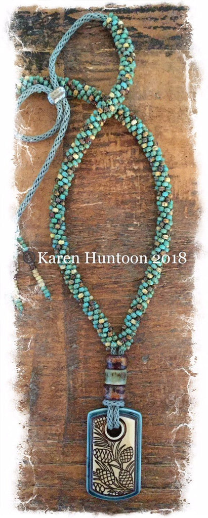 Kumihimo Beaded Necklace with Porcelain Pendant and Adjustable Closure