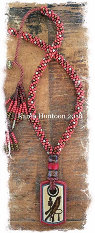 ****Beaded Necklace with Porcelain Bird Pendant & Adjustable Closure