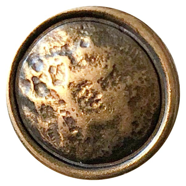 Button Barely Distressed, Antique Brass, 25 mm with shank