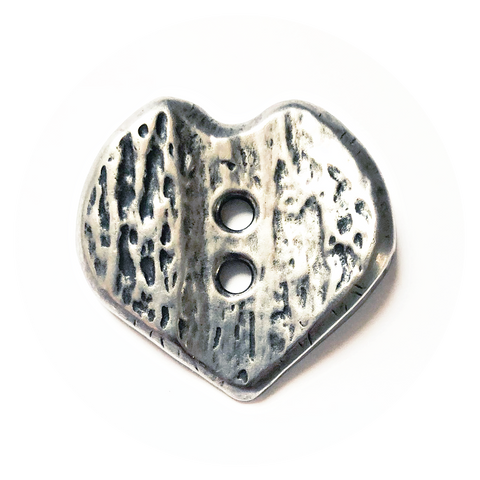 Button Cut-out Heart, Antique Silver, 30 mm