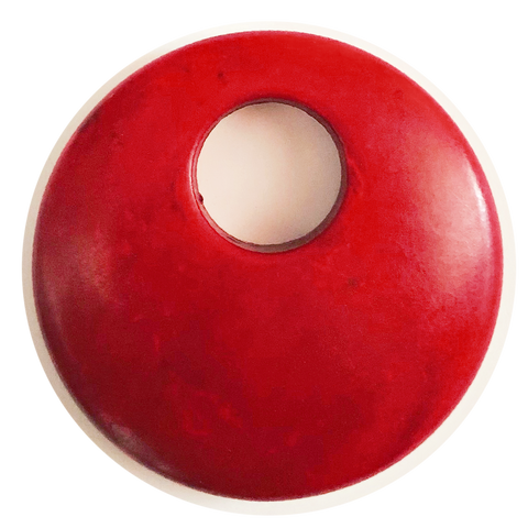 Howlite Gemstone Donut Pendant, 44mm -  Red