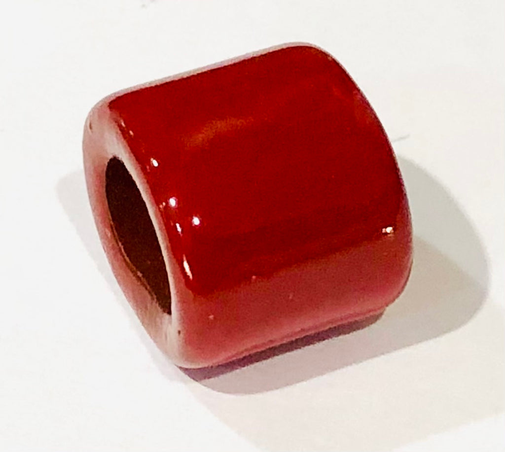 Porcelain Slider Bead Medium, Large Hole - Red