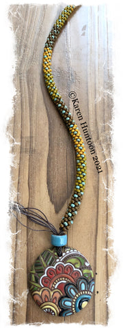 """Beaded 8/0 Colorblock Single Spot Necklace with Golem Paisley Flower Pendant""- MORE COMING SOON!"