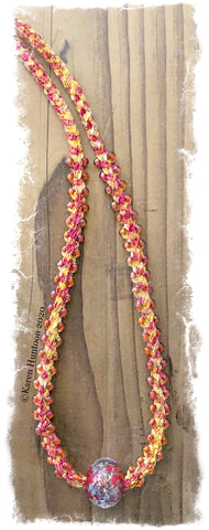 *******Kusari Tsunagi Jubilee Ribbon Edge Bead Necklace Kit with Boro Glass Focal - Sunrise