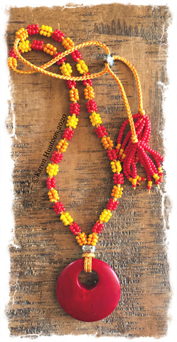 ********Kusari Tsunagi Mini Cluster Bead Necklace Kit - RKY w/ Red (MARUDAI)