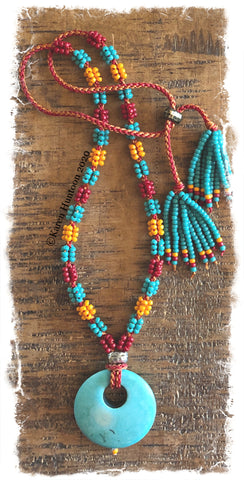 ********Kusari Tsunagi Mini Cluster Bead Necklace Kit - TBK w/ Turquoise (MARUDAI)