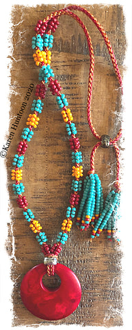 ********Kusari Tsunagi Mini Cluster Bead Necklace Kit - TBK w/ Red (MARUDAI)