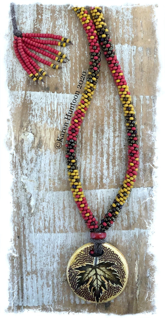 "******Karen's ""FUSION-3"" Beaded Necklace with Porcelain Pendant & Adjustable Closure - Mustard & Brick"