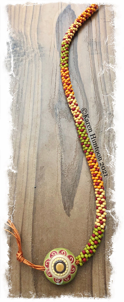 """Beaded 8/0 Colorblock Spot Necklace with Golem Lentil Pendant""- Lemongrass Mandala Flower"