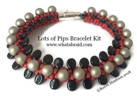 ***Lots of Pips Kumihimo Bracelet Kit - Brick/Black/Sand