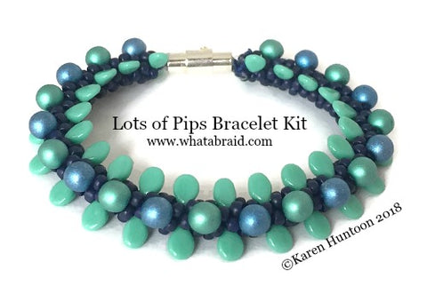 ***Lots of Pips Kumihimo Bracelet Kit - Cobalt Luster/Turquoise/Azure & Teal