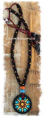 *****Kumihimo Beaded Necklace with Handpainted Mandala #1 - All Gone!