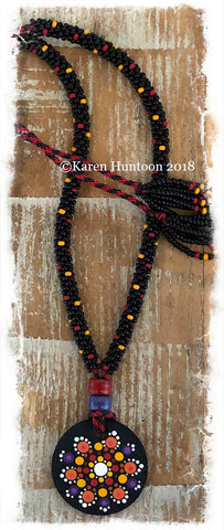 *****Kumihimo Beaded Necklace with Handpainted Mandala #2