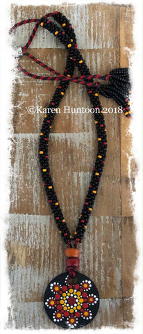 *****Kumihimo Beaded Necklace with Handpainted Mandala #3