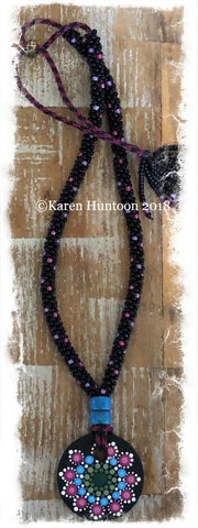 *****Kumihimo Beaded Necklace with Handpainted Mandala #4