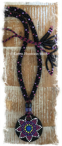 *****Kumihimo Beaded Necklace with Handpainted Mandala #5