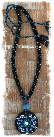 *****Kumihimo Beaded Necklace with Handpainted Mandala #7 - All Gone!