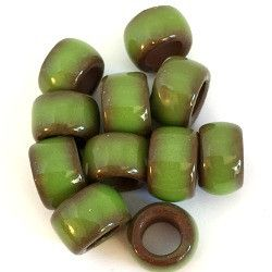 Porcelain Pony Beads, Large Hole - Green