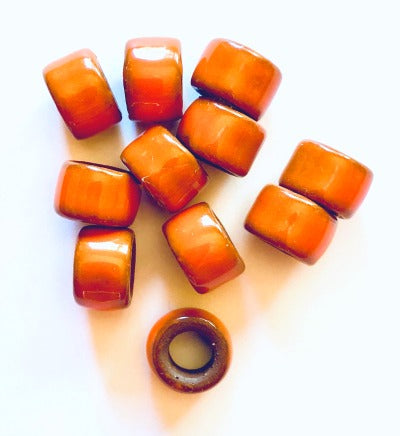 Porcelain Pony Beads, Large Hole - Tangerine