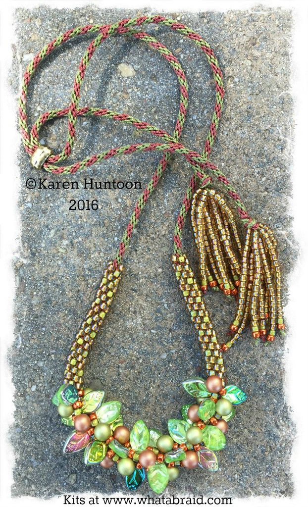 Beaded Kumihimo Bauble & Leaf Necklace Kit-Honeycomb
