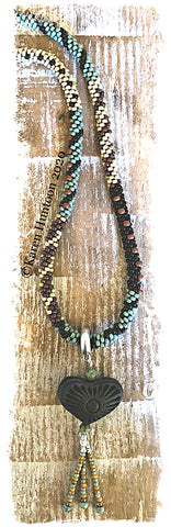 ******Karen's Picasso Painting with Beads with Oaxaca Black Clay Pottery Heart & Adjustable Closure