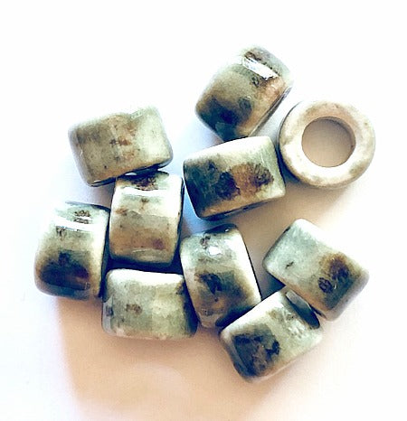 Porcelain Pony Beads, Large Hole - Tortoise