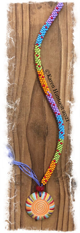 """Beaded 8/0 Colorblock Necklace with Golem Spiral Pendant""- Rainbow Brights"