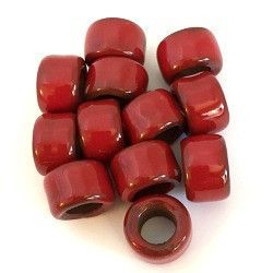 Porcelain Pony Beads, Large Hole - Red