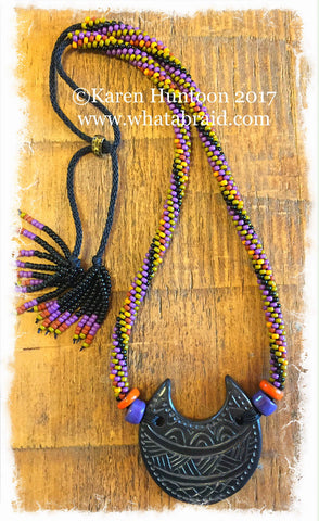 ******Kumihimo Beaded Swirl Necklace with Black Pottery Crescent Pendant - Very Rich