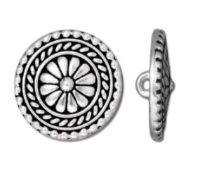 Button Bali, Antique Silver, 17.75 mm with shank