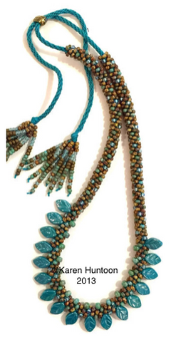 Instant Download Tutorial - Kumihimo Beaded Petal Fringe Necklace with Adjustable Closure