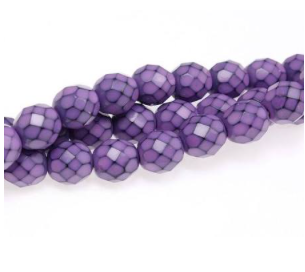 8mm Fire Polished Snake Beads - Lilac