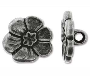 Button, 6-Petal Flower, Pewter Color