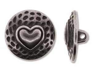 Button Heart, Antique Silver
