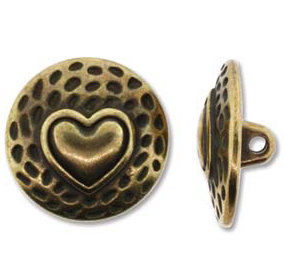Button Heart, Antique Brass