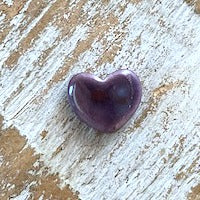 Porcelain Heart Bead, Small - Purple