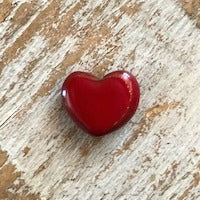 Porcelain Heart Bead, Small - Red
