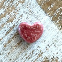 Porcelain Heart Bead, Small - Strawberry