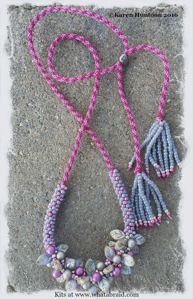 *****Beaded Kumihimo Bauble & Leaf Necklace Kit - Smoke & Magenta