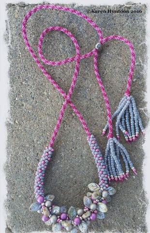 Handmade Beaded Kumihimo Bauble & Leaf Necklace - Smoke & Magenta