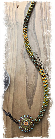 """Beaded 8/0 Colorblock Spot Necklace with Golem Lentil Pendant""- Cognac Turquoise Eye"