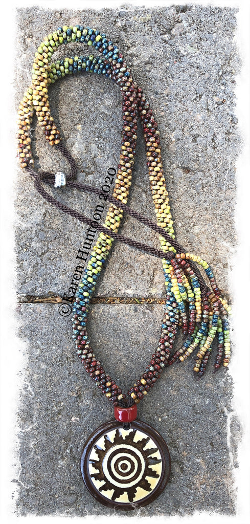 """FUSION-6"" Kumihimo Spiral Sun Beaded Necklace with Adjustable Closure - Picasso"