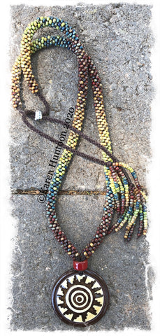 "********Karen's ""FUSION-6"" Kumihimo Spiral Sun Beaded Necklace with Adjustable Closure - Picasso"
