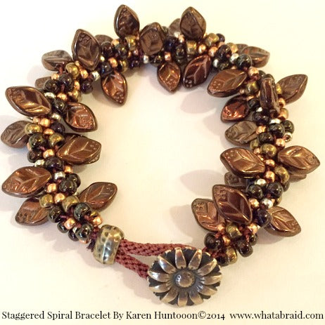 ****Staggered Spiral Bracelet - Bronze