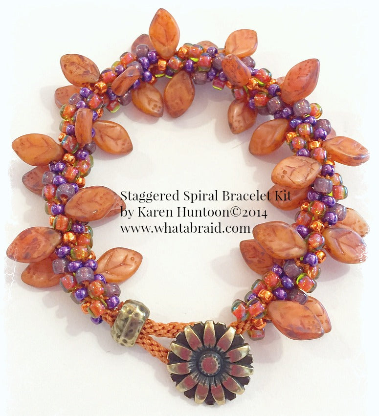Handmade Staggered Spiral Bracelet - Sunset