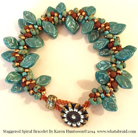****Staggered Spiral Bracelet - Luster Turquoise