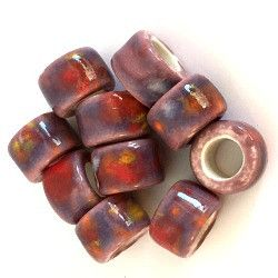 Porcelain Pony Beads, Large Hole - Sunset