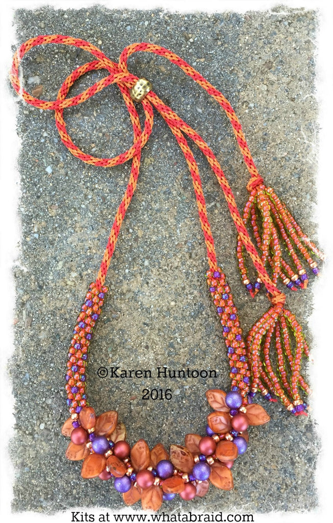 Handmade Beaded Kumihimo Bauble & Leaf Necklace - Sunset