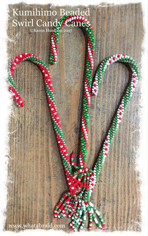 ***Kumihimo Beaded Swirl Candy Canes Kit - Makes 3 Candy Canes