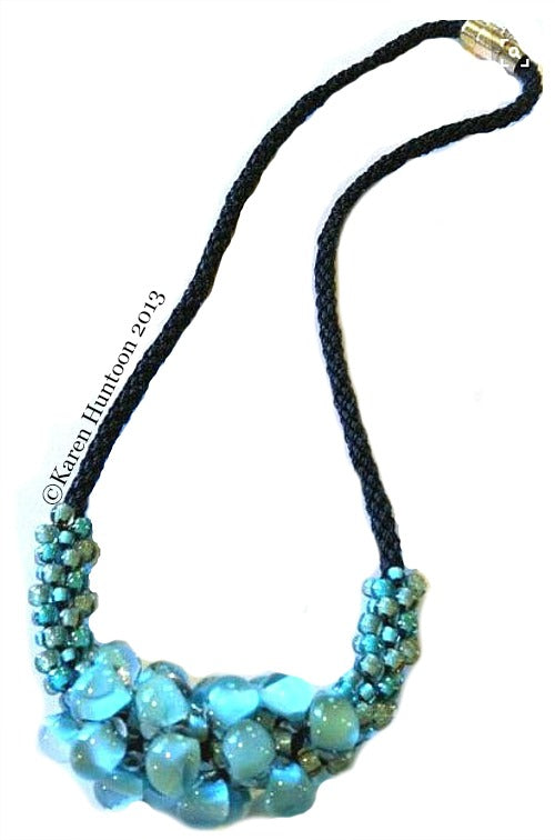 Kumihimo Teardrop Focal Beaded Necklace